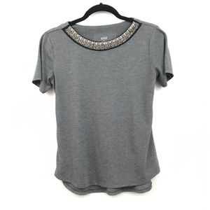 a.n.a. Gray Short Sleeve Tee Jeweled Neckline